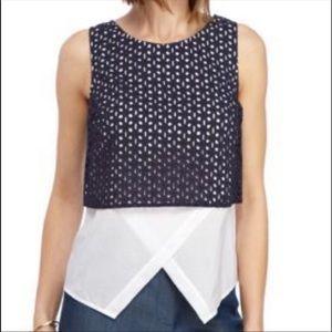 NWT Kaari Blue 100% cotton blue and white top